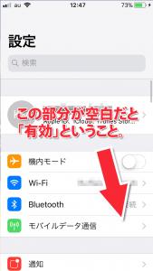 「モバイルデータ通信」の欄の右側が空白だと、有効(オン)という意味