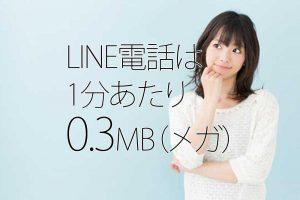 LINE電話は1分あたり0.3MBという文字と女性